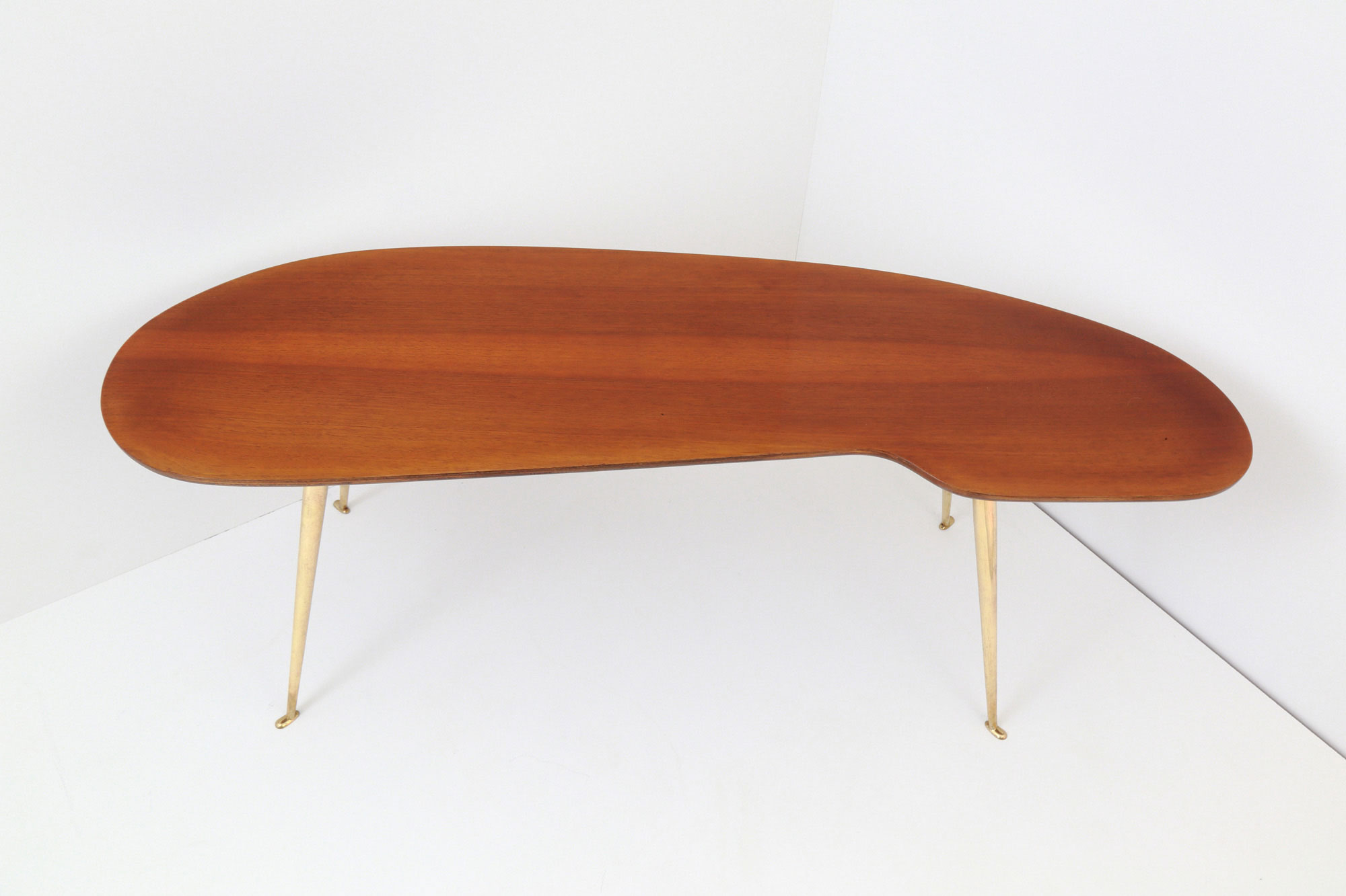 Wooden Freeform Coffee Table with Brass Legs • Cupio Gallery